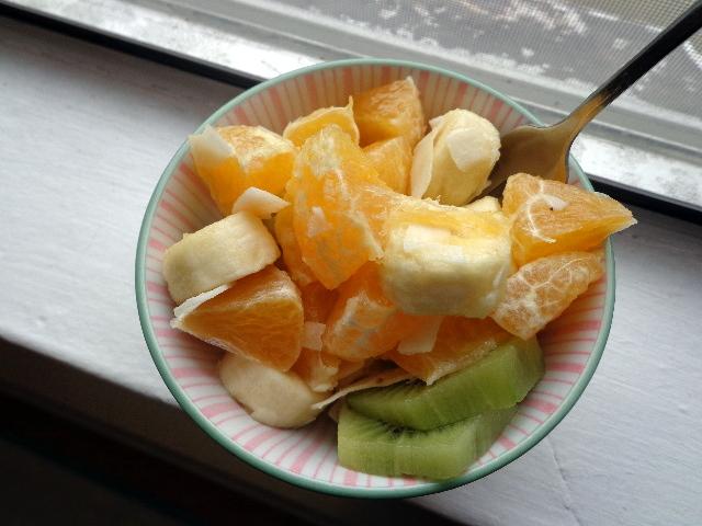 kiwi, minneola, banana, coconut