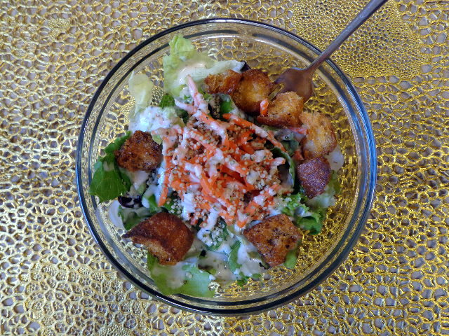 salad with homemade croutons