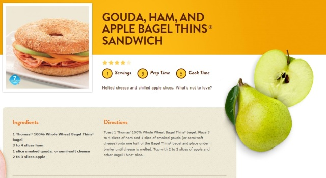gouda, ham, and apple, bagel thins sandwich