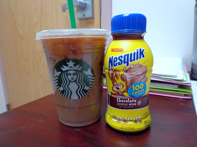 iced coffee and chocolate milk