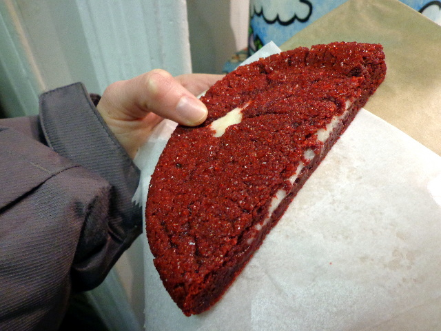 city cakes half pound red velvet cookie stuffed with cream cheese frosting