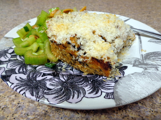 spicy crunchy salmon roll casserole